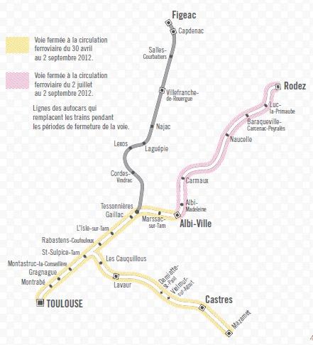 Plan Rail Midi-Pyrénées 2007-2013 - carte des lignes ferroviaires en travaux