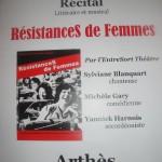 Arthès : Résistances de femmes, récital littéraire et musical par l'Entresort Théâtre