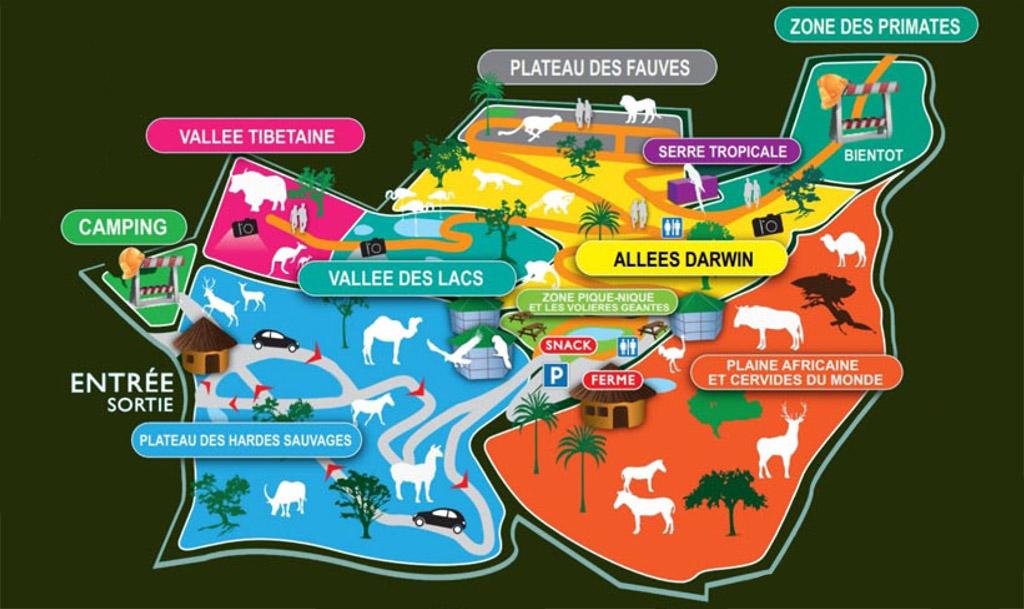 Zoo des trois vallées, Montredon-Labessonnié - Les Zones