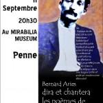 Penne : Bernard Ariès dira et chantera Gaston Couté au Mirabilia Museum