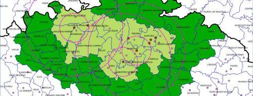 Tarn : Influenza aviaire, nouvelle carte incluant les zones de protection et de surveillance, la commune de Carmaux étant désormais comprise dans la zone de protection (auparavant dans la zone de surveillance). - 7/12/2106