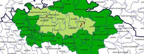 Tarn : Influenza aviaire, nouvelle carte incluant la commune de Jouqueviel dans le périmètre de protection et de surveillance du virus H5N8