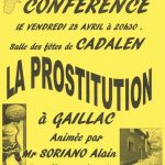 Cadalen : La prostitution à Gaillac, conférence d'Alain Soriano à la Salle des fêtes