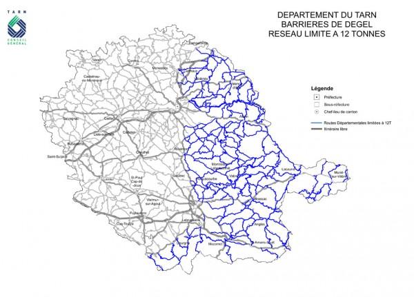 Barrières de dégel - Carte du Tarn en Février 2012