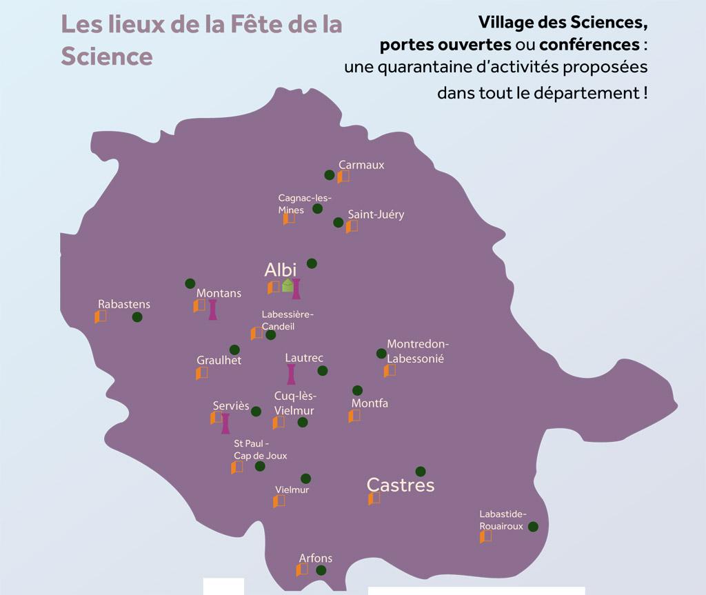 Fête de la science 2012, la carte du Tarn
