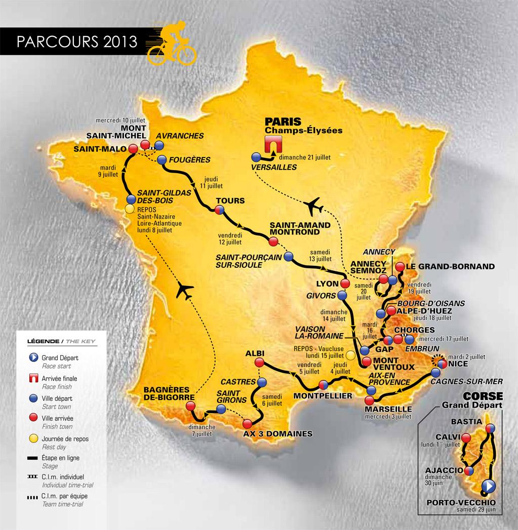Le Tour de France 2013, la carte