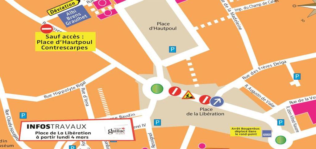 Travaux Place de la Libération à partir du lundi 4 mars 2013