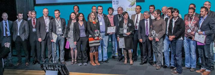 Lauréats, parrains, partenaires et organisateurs des Trophées de l'Economie Numérique 2012 / © La Mêlée Numérique