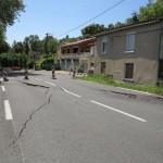 Affaissement et rupture de la chaussée sur la RD 112 dans la côte de Beaumont en sortie de Castres / © CG 81
