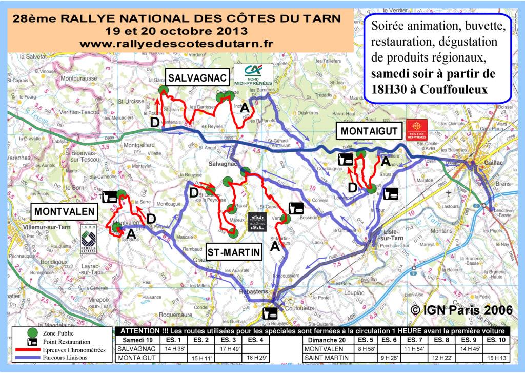 Rallye des côtes du Tarn 2013 - Le Parcours