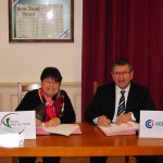 Signature de la convention-de partenariat entre la CCI du Tarn et la communauté de communes de la Vallée du Thoré - Brigitte Saracco, Présidente de la Communauté de communes Haute vallée du Thoré et Michel Bossi, Président de la CCI du Tarn