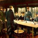 Tableau représentant la signature de l'armistice de 1918 dans le wagon-salon du Maréchal Foch / cc Wikipédia