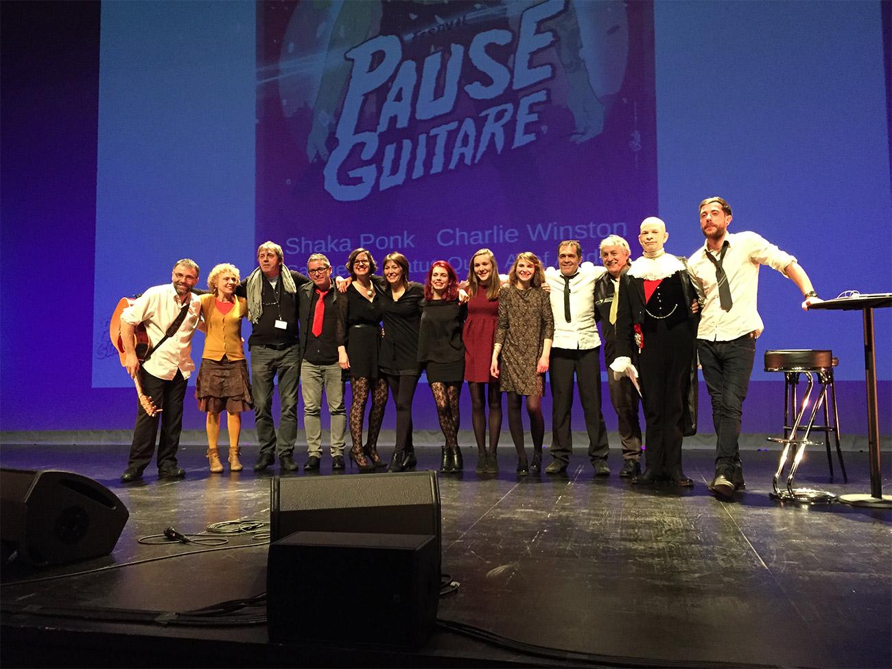 L'équipe d'Arpèges et Trémolos lors de la soirée de présentation du festival Pause Guitare 2015 / © Dans Ton Tarn