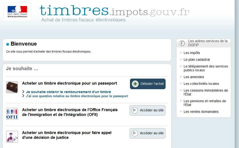 Site Internet timbres.impots.gouv.fr