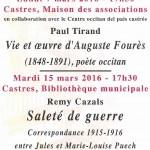 Conférence : « La vie et l'œuvre d'Auguste F (c) Centre Occitan del País Castrés