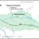 Bassin-versant du Tescou, avec situation de la retenue de Thérondel et du projet de barrage de Sivens / cc Wikipédia
