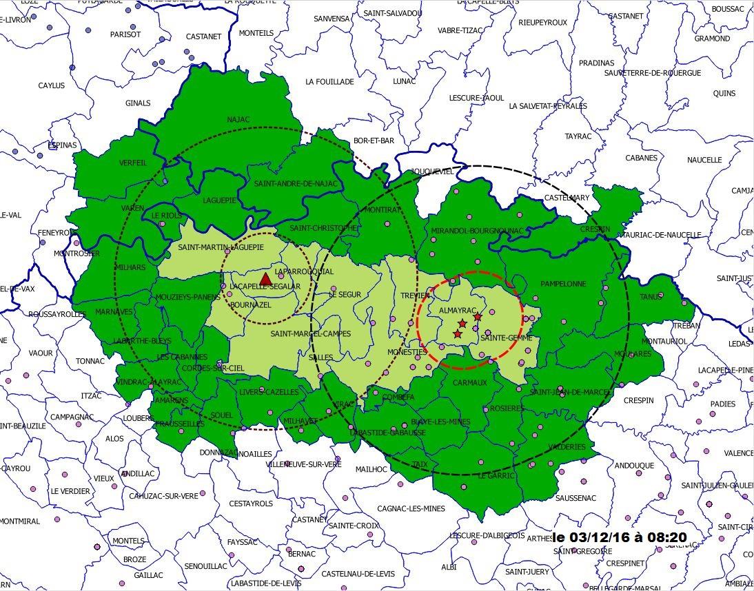 Carte délimitant la zone de protection et la zone de surveillance au 3/12/2016