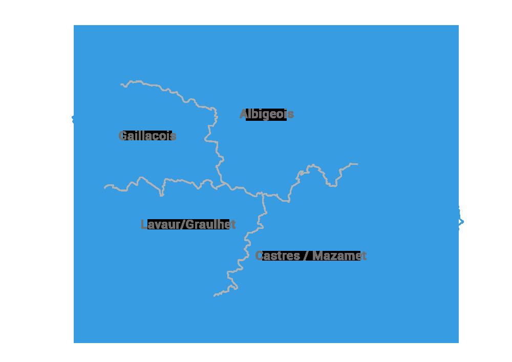 Carte des régions du Tarn