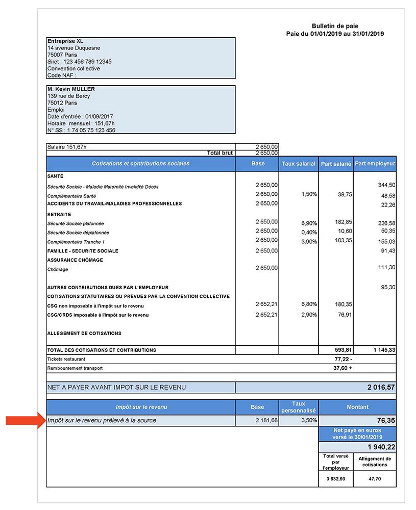 Bulletin de paie, prélèvement à la source / © www.economie.gouv.fr