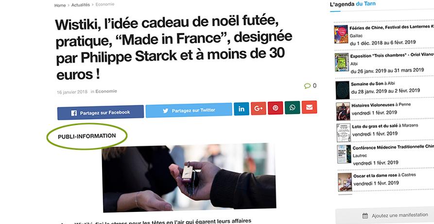 Publicité, article sponsorisé sur le site Dans Ton Tarn / © DTT