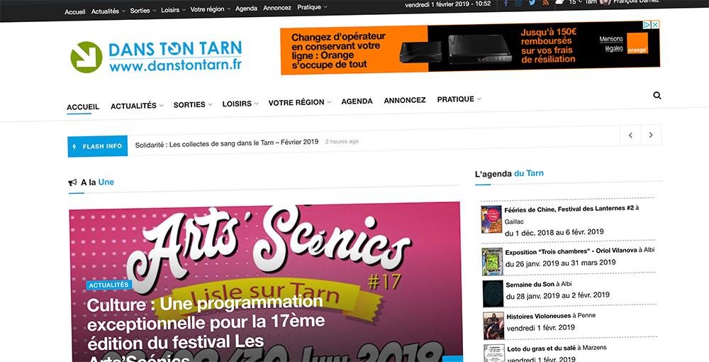 Publicité, encart publicitaire sur le site Dans Ton Tarn / © DTT