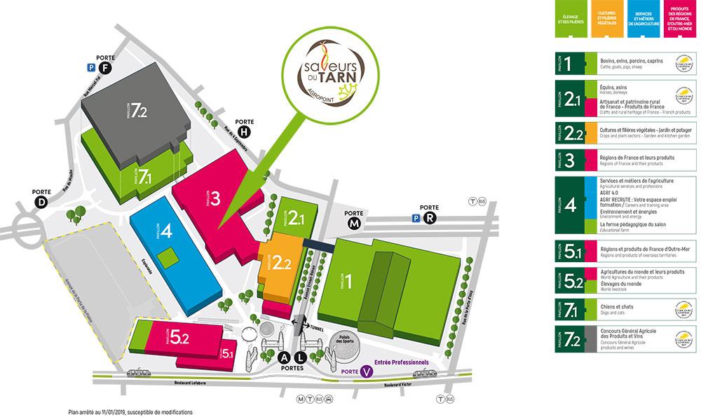 Plan du Salon International de l'Agriculture 2019