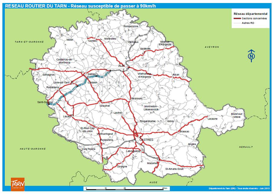 Réseau routier du Tarn susceptible de revenir à une limitation de vitesse à 90 km/h / © Département du Tarn