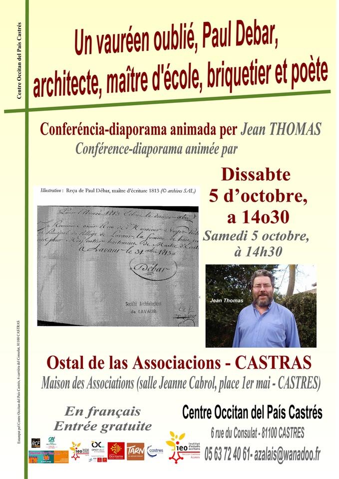 Castres Conférence Un Vauréen Oublié Paul Debar Dans