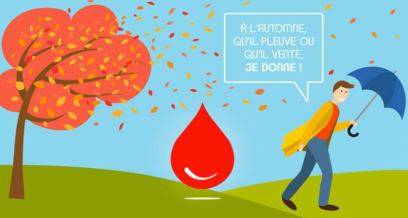 A l'automne, qu'il pleuve ou qu'il vente, je donne - Don de sang/ © EFS