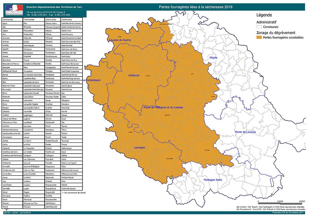 Sécheresse fourragère - Dégrèvement collectif de taxe sur le foncier non bâti pour les éleveurs : la carte et le taux définitifs